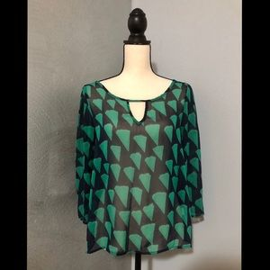 Sweet Claire Navy/Green Blouse
